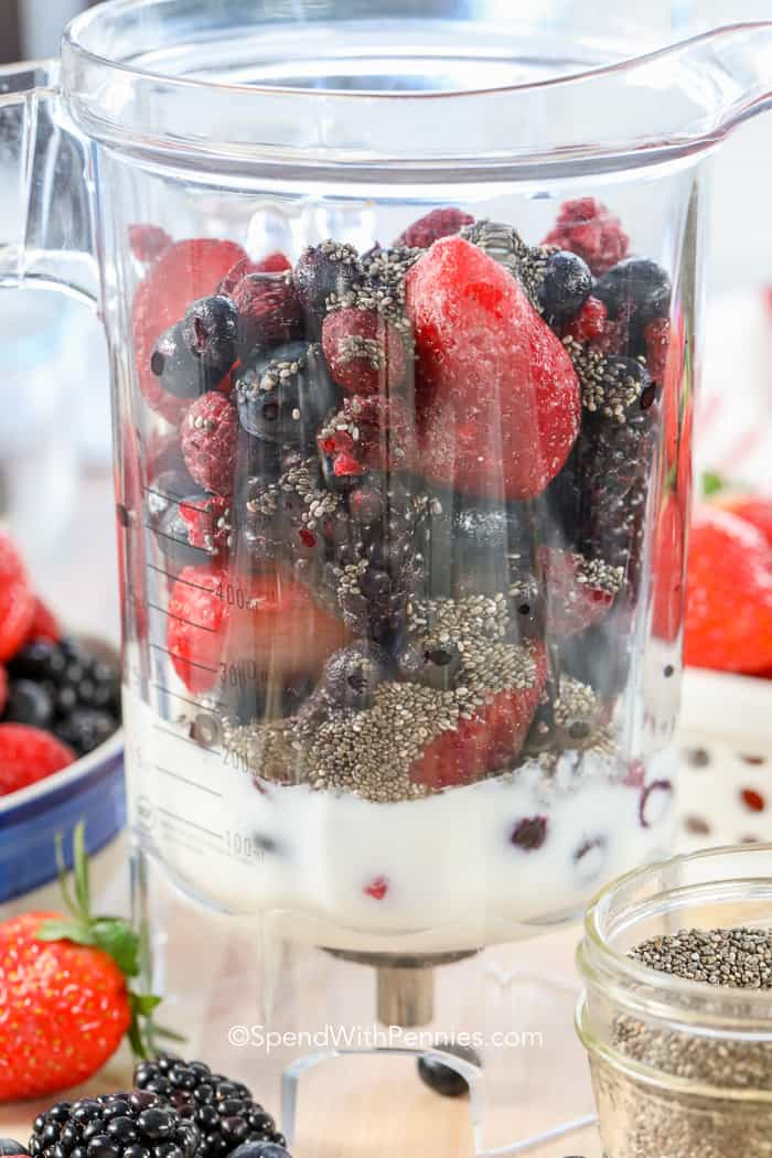 Mixed Berry Smoothie ingredients in a blender