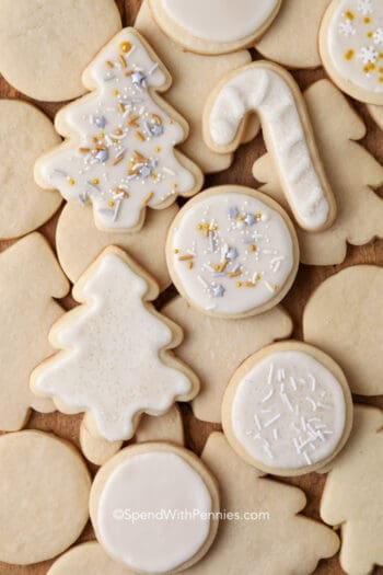 sugar cookies cut out in various shapes