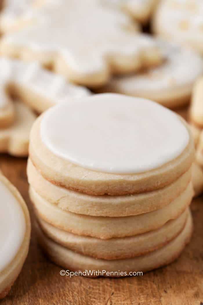 a stack of sugar cookies