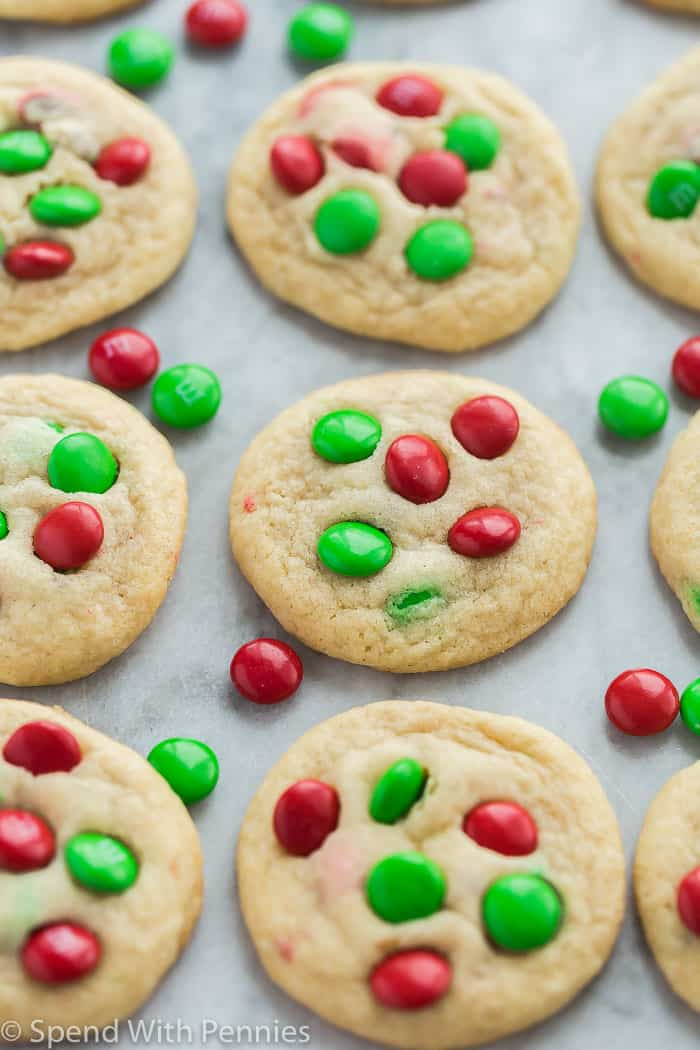 Christmas M M Cookies Spend With Pennies