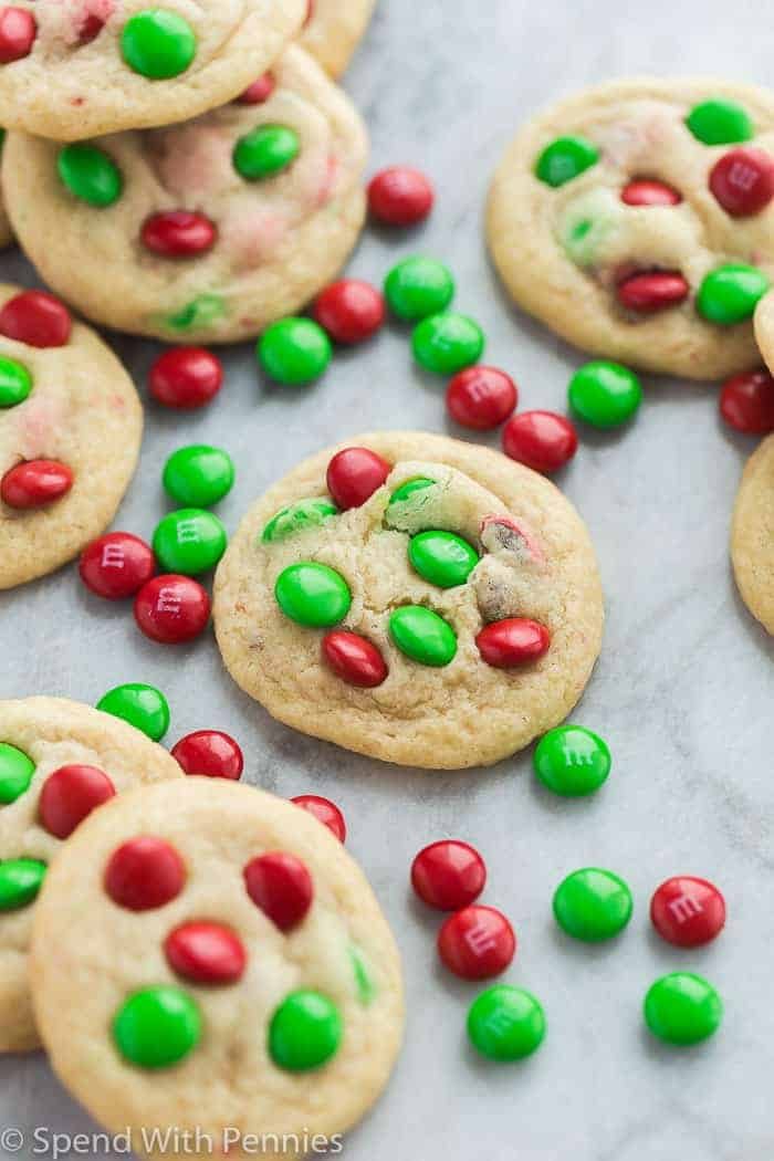 Christmas m&m cookies with red and green m&ms