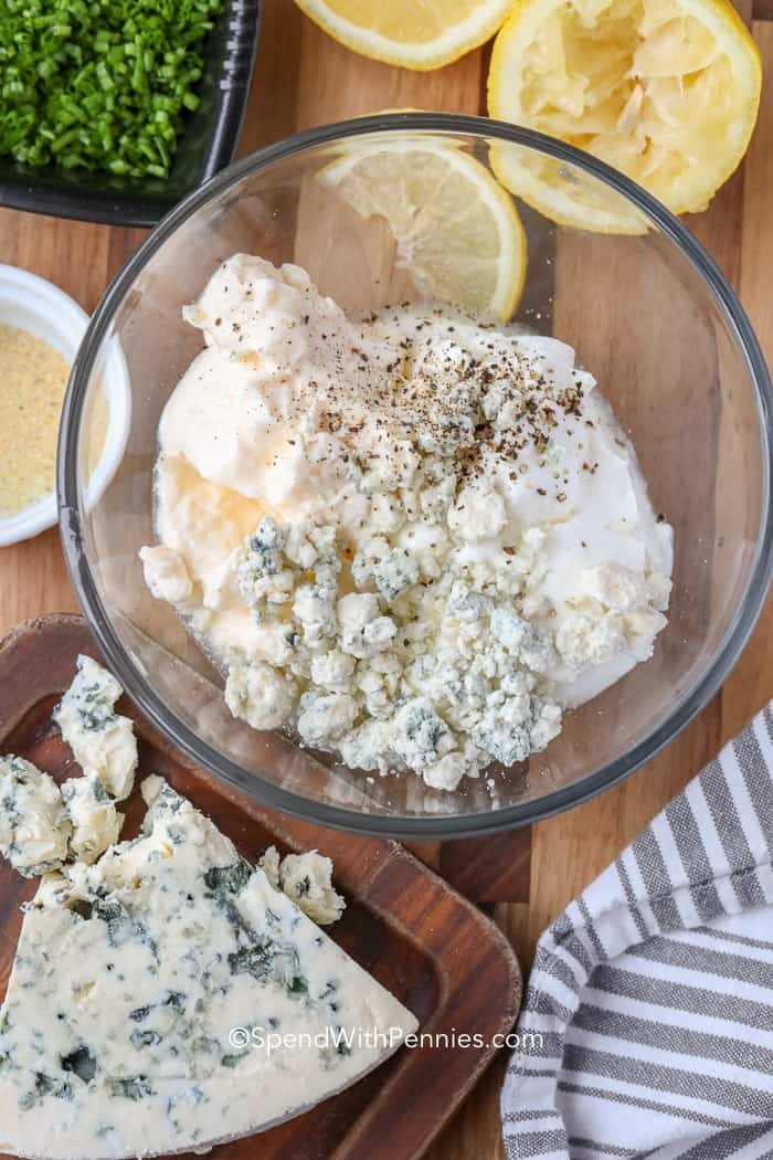 Unmixed ingredients for Blue Cheese Dressing