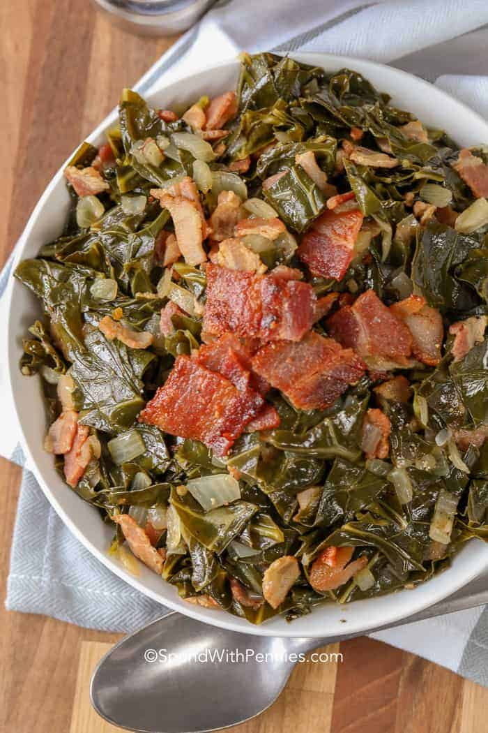 Collard Greens with bacon topping