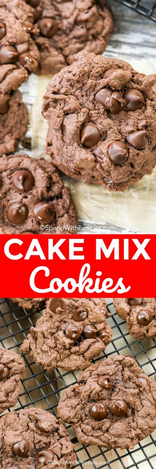 These chocolate cake mix cookies are seriously good. 4 ingredients are all you need to create decadent, flaky and moist cookies that everyone will absolutely love! #spendwithpennies #cakemixcookies #easyrecipe #dessert #cookies #easycookierecipe #kidfriendly #simplerecipe #quickdessert