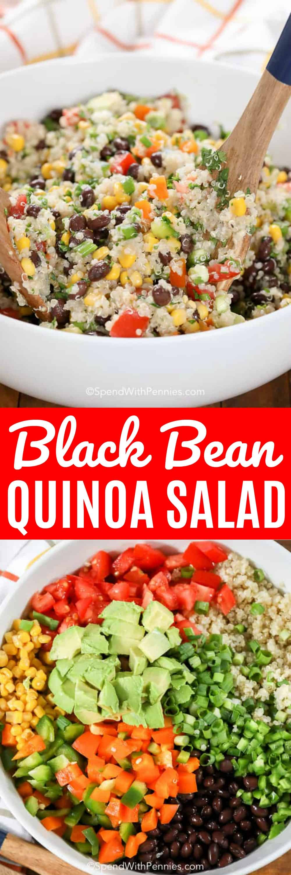 This easy Black Bean Quinoa Salad is deliciously simple, full of fresh veggies all tossed in a zesty lime dressing, this is the perfect easy lunch or dinner.#quinoa #quinoasalad #healthysalad #sidedish #healthyrecipe #blackbeansalad #cowboycaviar