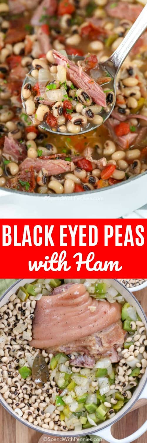 Black Eyed Peas with Ham and writing