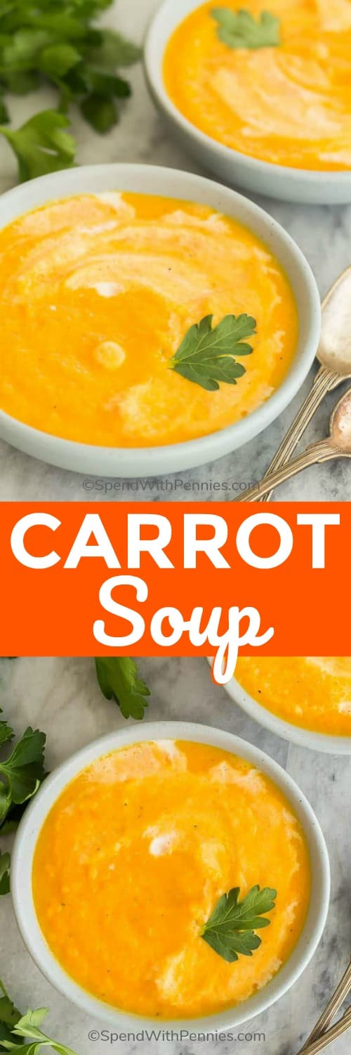 This Creamy Carrot Soup recipe is easy, healthy and delicious! It's made with carrots, onions, garlic, ginger and a splash of cream that takes it over the top! #recipe #soup #carrot #healthy #dinner
