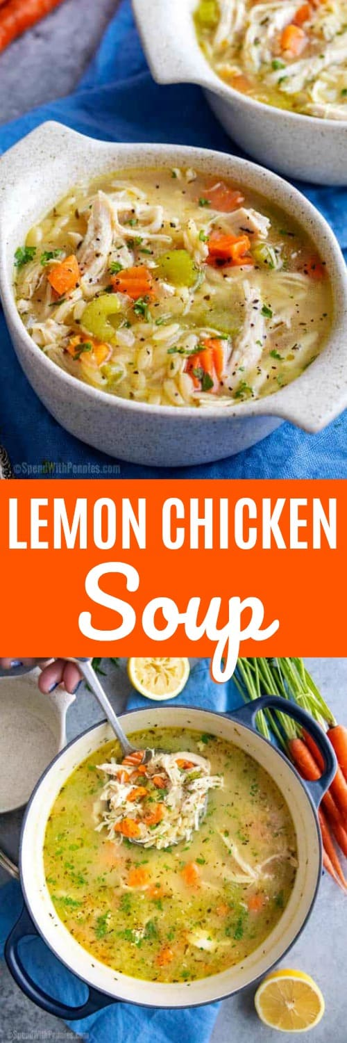 Comforting and light, this Greek Lemon Chicken Soup is ready in about 30 minutes! #spendwithpennies #souprecipe #chickensoup #greek #comfortfoodrecipes #easyrecipe #easymeal #easylunch