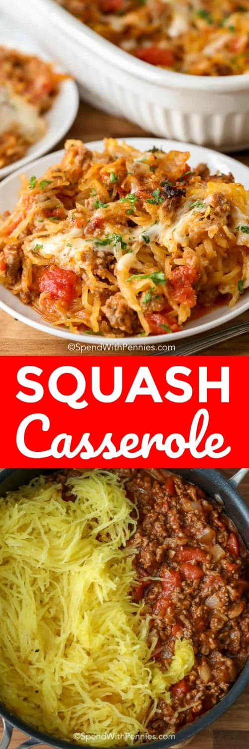This simple spaghetti squash casserole is one of our favorite weeknight casserole recipes. It is bursting with flavors, healthy, and low carb! #spendwithpennies #spaghetti #spaghettisquash #spaghettisquashcasserole #casserole #easycasserole