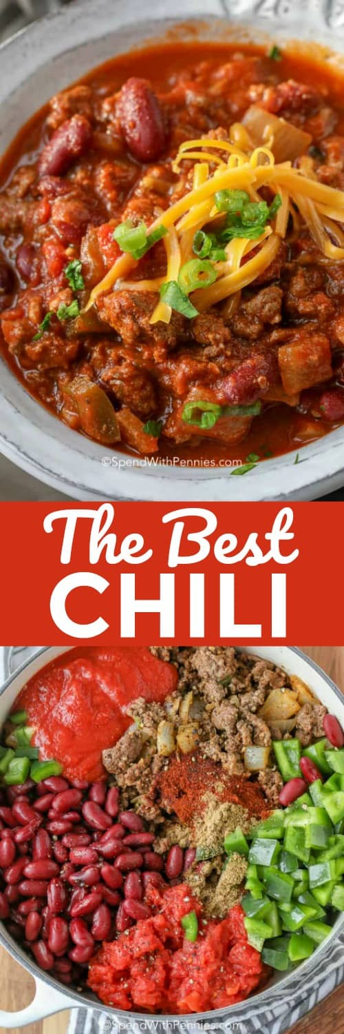 This is the best chili recipe! A big pot of ground beef chili loaded with beef and beans is the perfect game day food! #spendwithpennies #chilirecipe #easychili #groundbeefchili #groundbeef #beefrecipe #souprecipe
