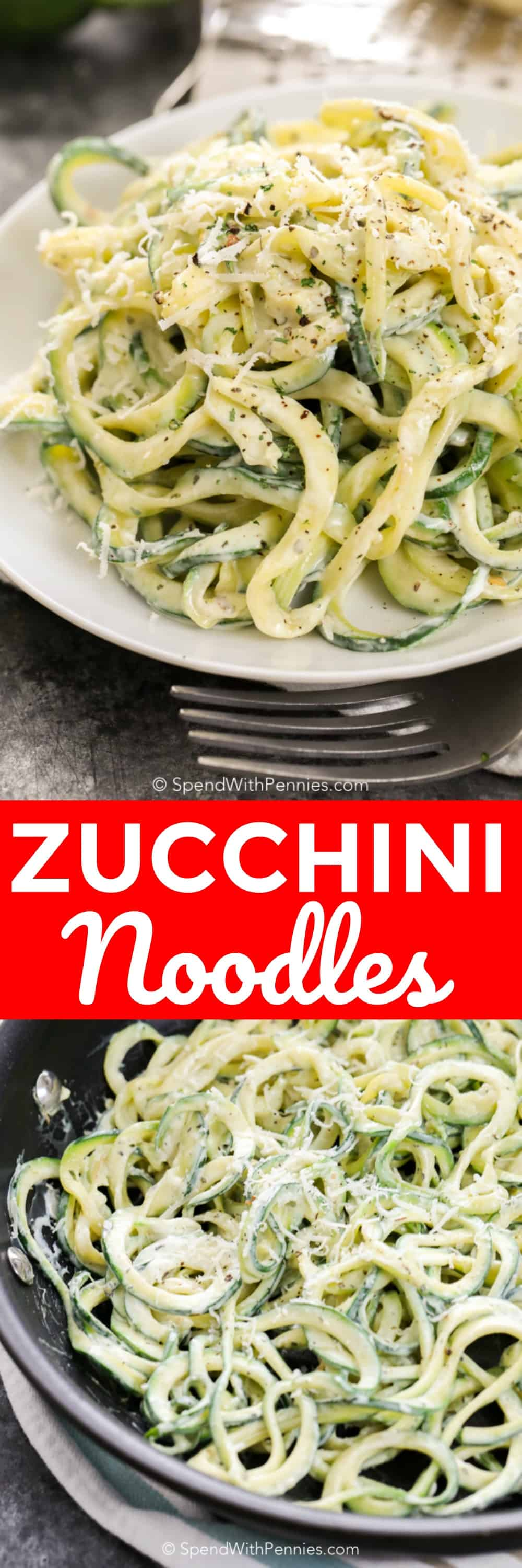 These creamy dreamy zucchini noodles are the perfect side dish. We also love making them for lunch! #spendwithpennies #zucchini #zucchininoodles #creamyzucchininoodles #sidedish #zoodles