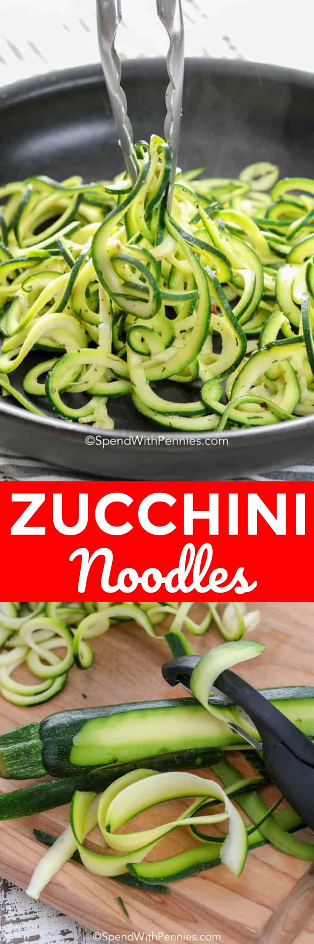 Zucchini Noodles with writing