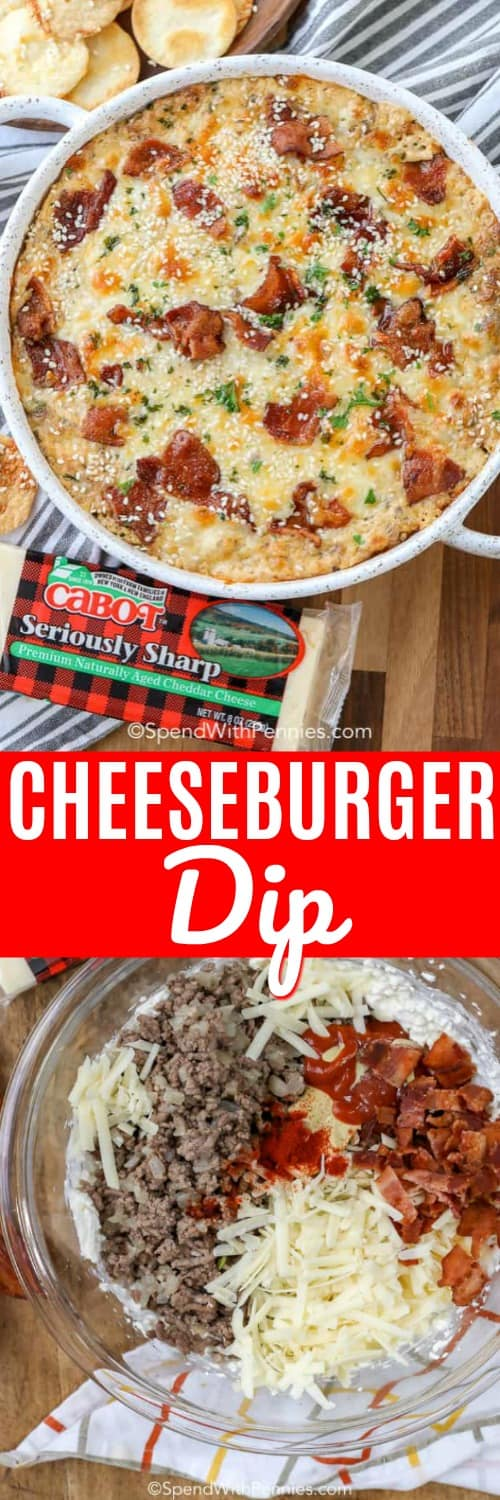 This is the ultimate game day appetizer - cheesy hamburger dip. This easy recipe is served hot with your favorite chips and other dippers! #spendwithpennies #dip #hamburgerdip #cheeseburgerdip #dip #hotdip #cheesedip