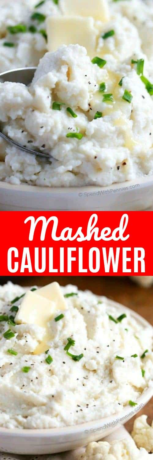 This cauliflower mashed potato recipe is a deliciously satisfying side, low in carbs and big on flavor! It's the perfect way to enjoy cauliflower and a delicious substitute for mashed potatoes! #spendwithpennies #mashedcauliflower #cauliflowermashedpotatos #lowcarb #sidedish #easyrecipe #easyside #vegetables