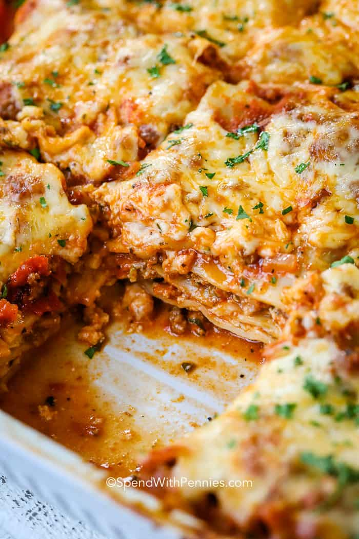 A pan of the best lasagna made from an easy lasagna recipe