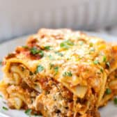 Easy Homemade Lasagna on a plate