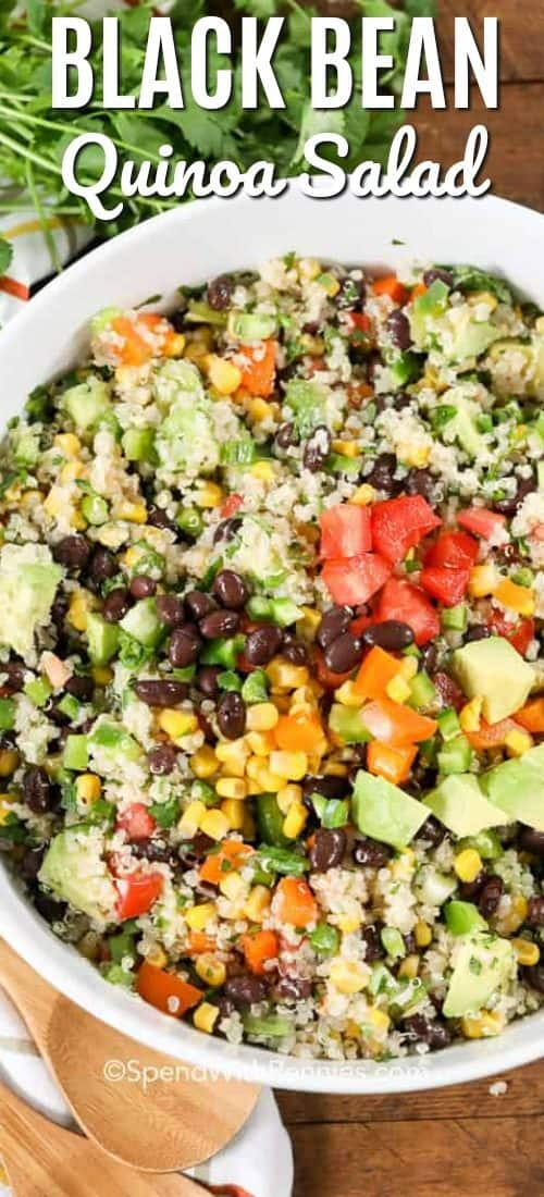 This easy Black Bean Quinoa Salad is deliciously simple, full of fresh veggies all tossed in a zesty lime dressing, this is the perfect easy lunch or dinner. #spendwithpennies #quinoa #quinoasalad #healthysalad #sidedish #healthyrecipe #blackbeansalad