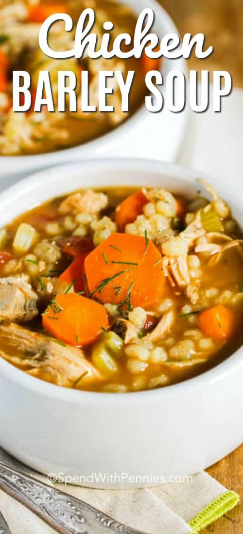 Homemade Chicken Barley Soup! This perfect cool weather recipe will warm you from the inside out! Loads of veggies, barley and chicken, you're going to want to make this over and over! #spendwithpennies #chickensoup #barleysoup #chickenbarleysoup #souprecipe