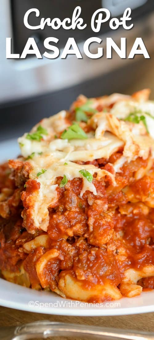 Lazy Crock Pot Lasagna is an easy slow cooker casserole recipe. Ravioli takes the place of lasagna noodles! Layer it with a hearty meat sauce and cheese for the perfect meal. #spendwithpennies #lasagnarecipe #crockpotrecipe #slowcookerrecipe