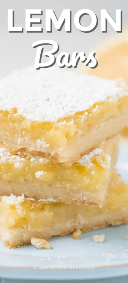 These Lemon Bars are a refreshing, sweet, and slightly tart treat made up of a lemony custard filling on top of a buttery shortbread crust. #spendwithpennies #lemonbarsrecipe #lemonrecipe #dessertrecipe #easyrecipe #treat