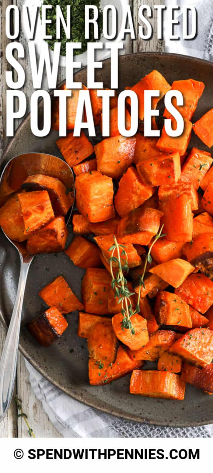 Roasted Sweet Potatoes are the perfect sweet, yet savoury side dish! Super easy to prepare, healthy and infused with flavour, this sweet potato recipe is a great choice for fall feasts! #spendwithpennies #sweetpotatoes #sweetpotato #easyrecipe #sidedish #roastedpotato #ovenroasted