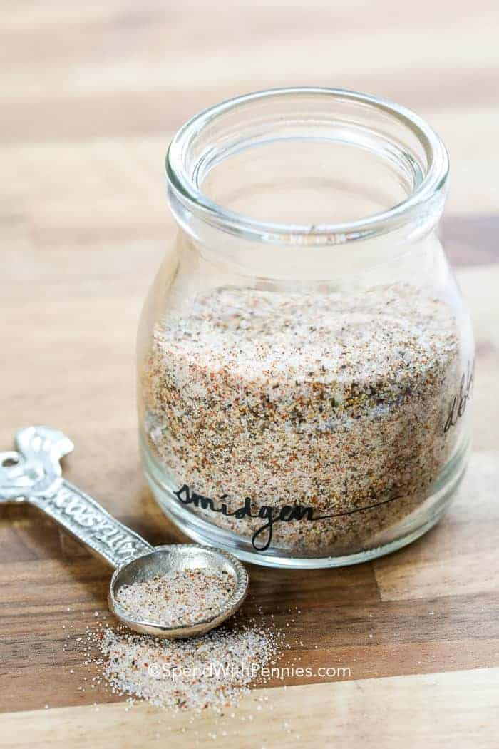 Seasoned Salt in a jar with a spoon