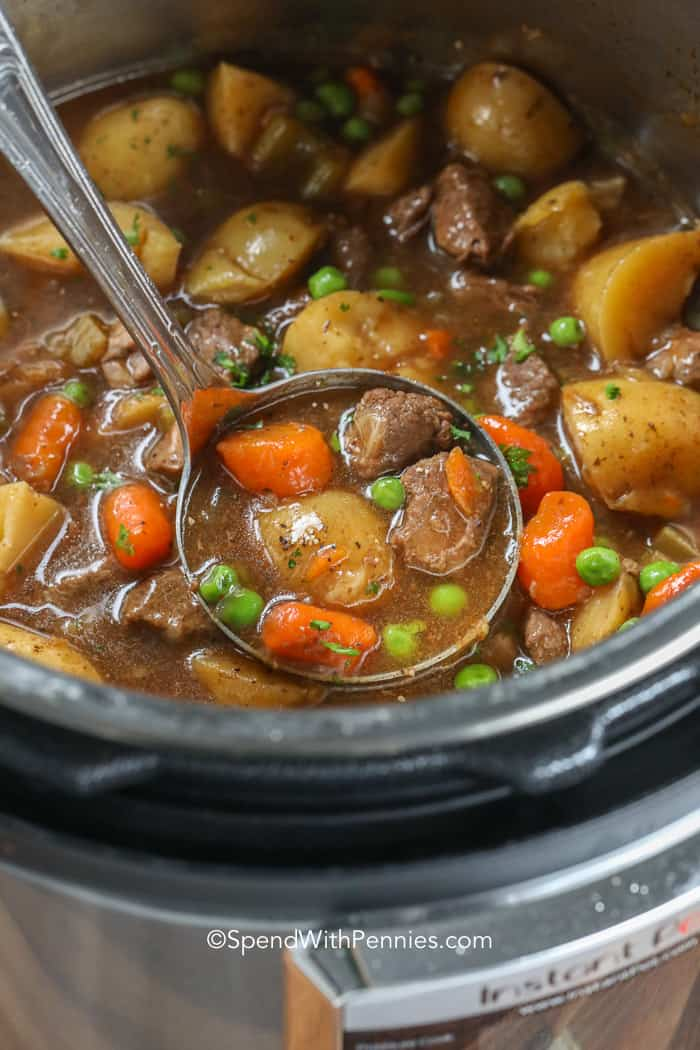 A ladle scooping Instant Pot beef stew to serve.
