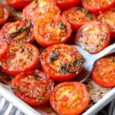 Oven Roasted Tomatoes with a spoon