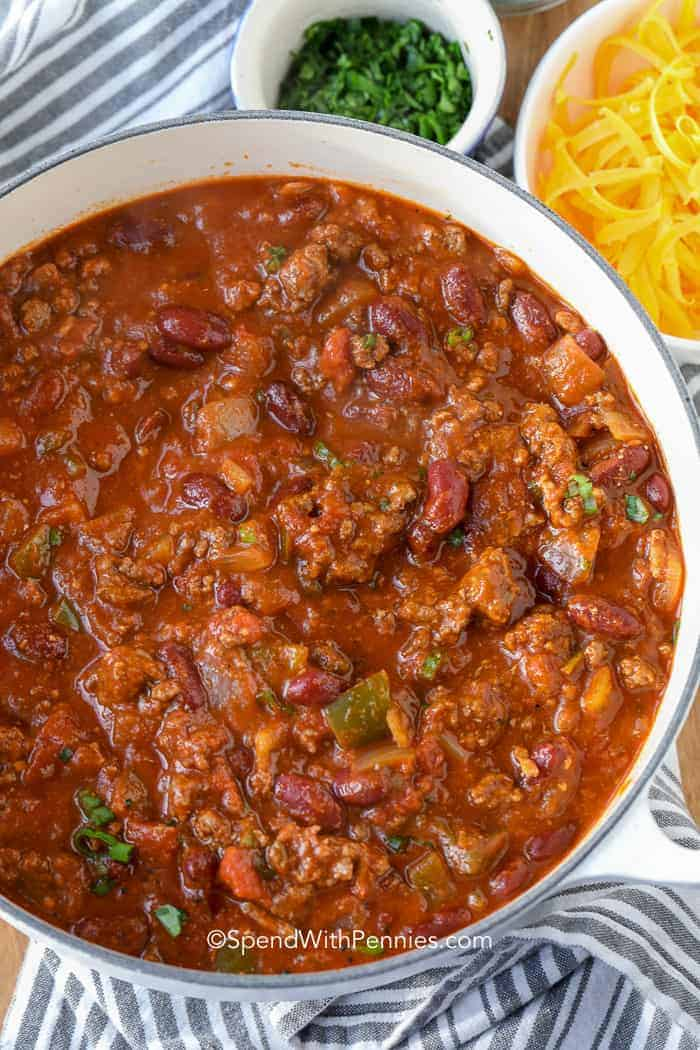 A big pot of ground beef chili - the perfect game day food!