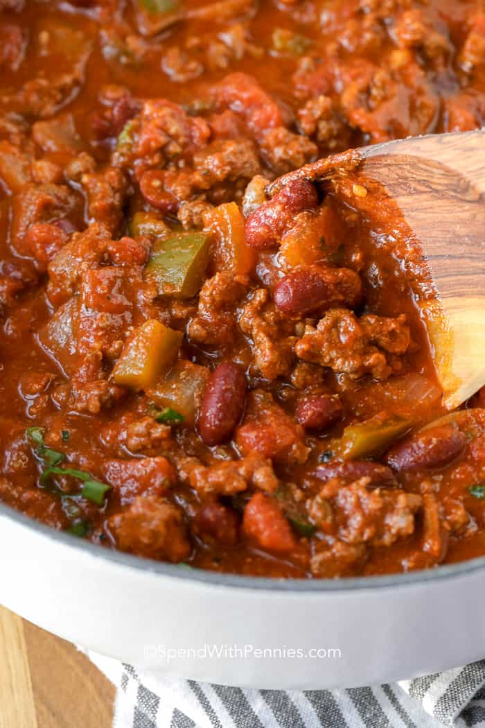 The Best Chili Recipe with wooden spoon