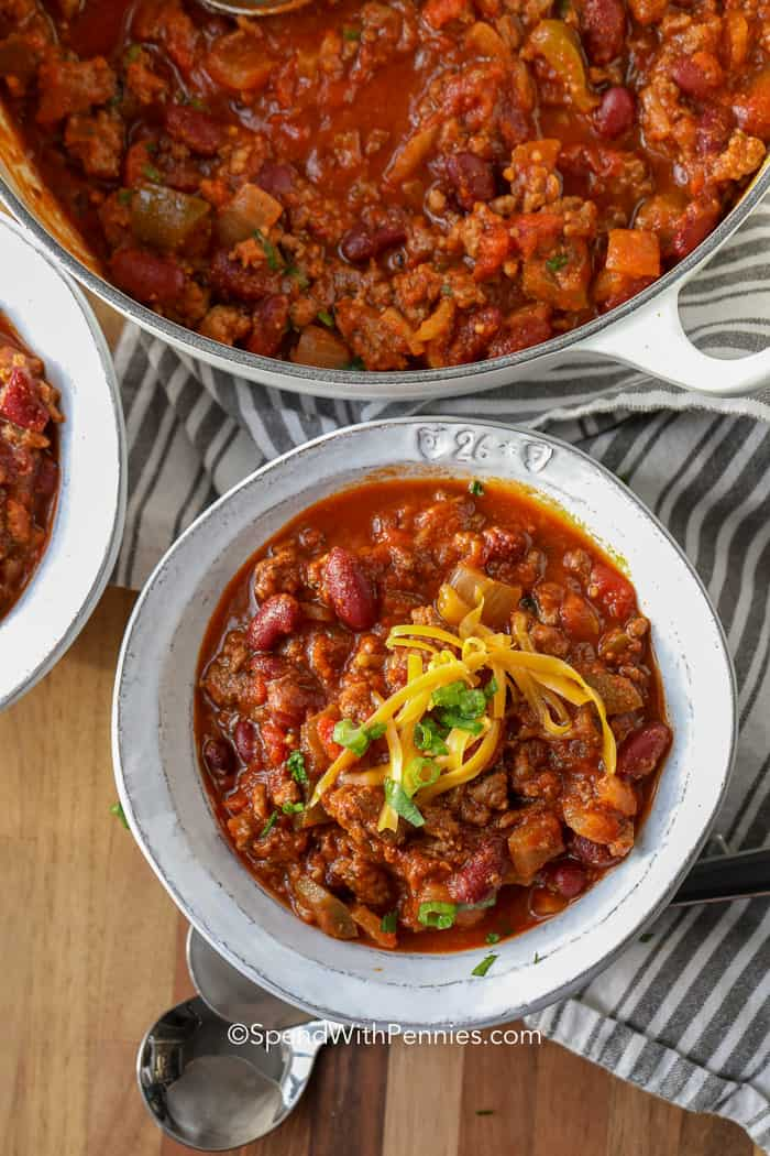 A serving of the best chili recipe topped with cheddar cheese