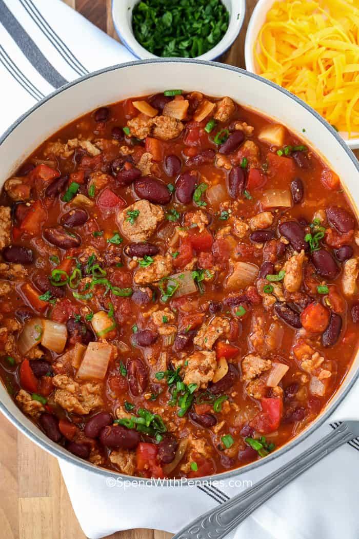 Turkey Chili in the pot