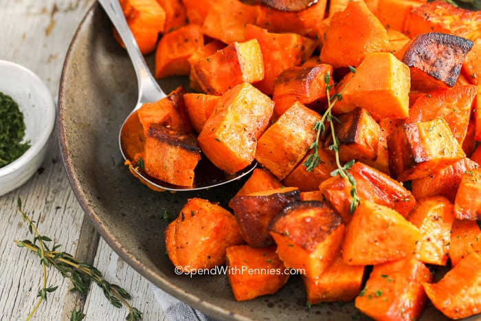 A bowl of roasted sweet potatoes ready to be served