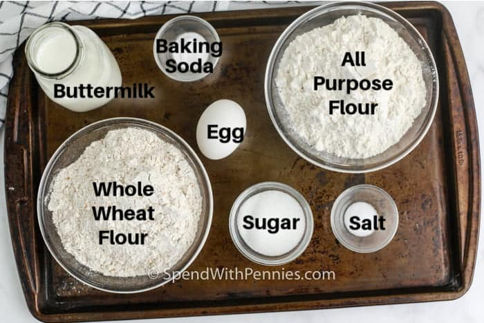 ingredients for Irish soda bread on a pan