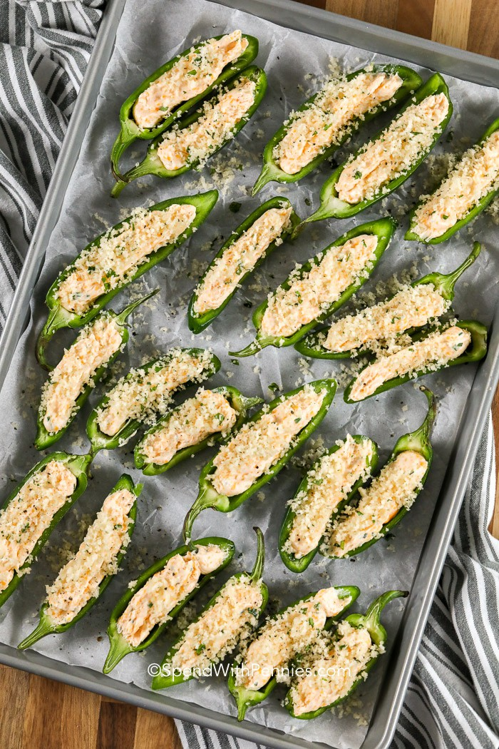 Jalapeno Poppers on a pan ready to bake