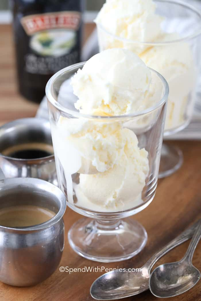 Scoops of ice cream and shots of espresso prepared to make the perfect affogato recipe