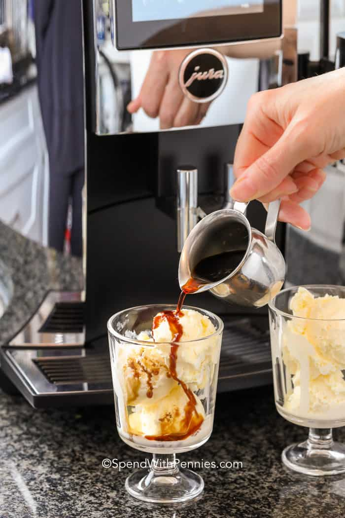 Pouring espresso over ice cream for an affogato dessert
