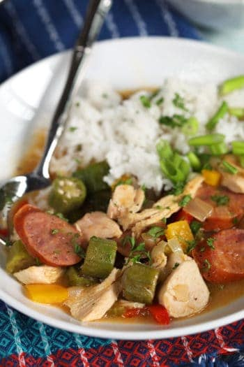 Easy Chicken Gumbo Recipe with a spoon