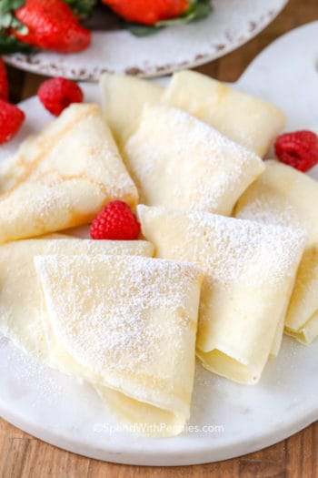 Easy Homemade Crepes on white plate