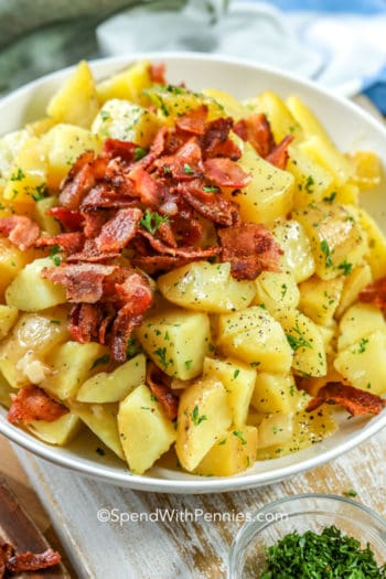 German Potato Salad topped with bacon