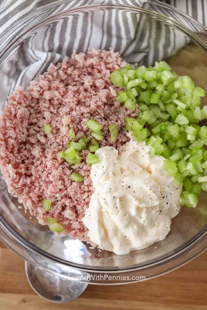 Raw ingredients for Ham Salad