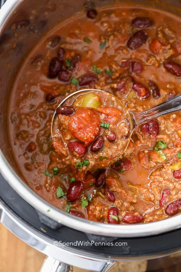 Instant Pot Chili with a ladle