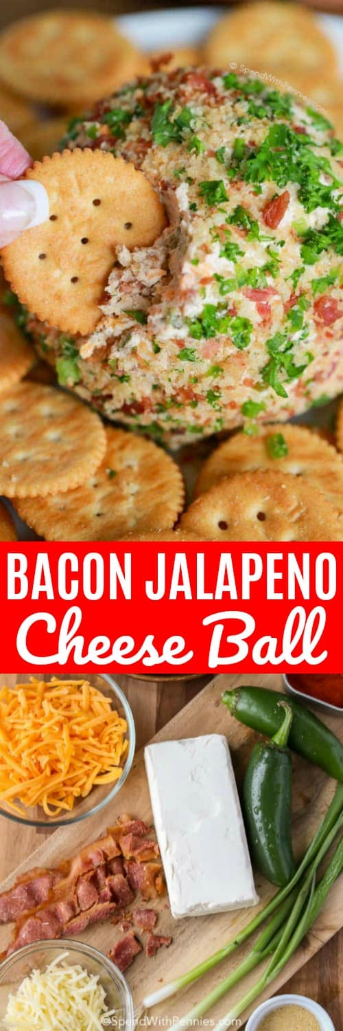 This Bacon Jalapeño Cheese Ball recipe is easy to make and a hit at every party. A creamy base is loaded with crispy smokey bacon, spicy jalapenos and sharp cheddar for a perfect party snack. #spendwithpennies #jalapeno #bacon #jalapenopoppers #cheeseball #easyrecipe #easyappetizer #easycheeseball