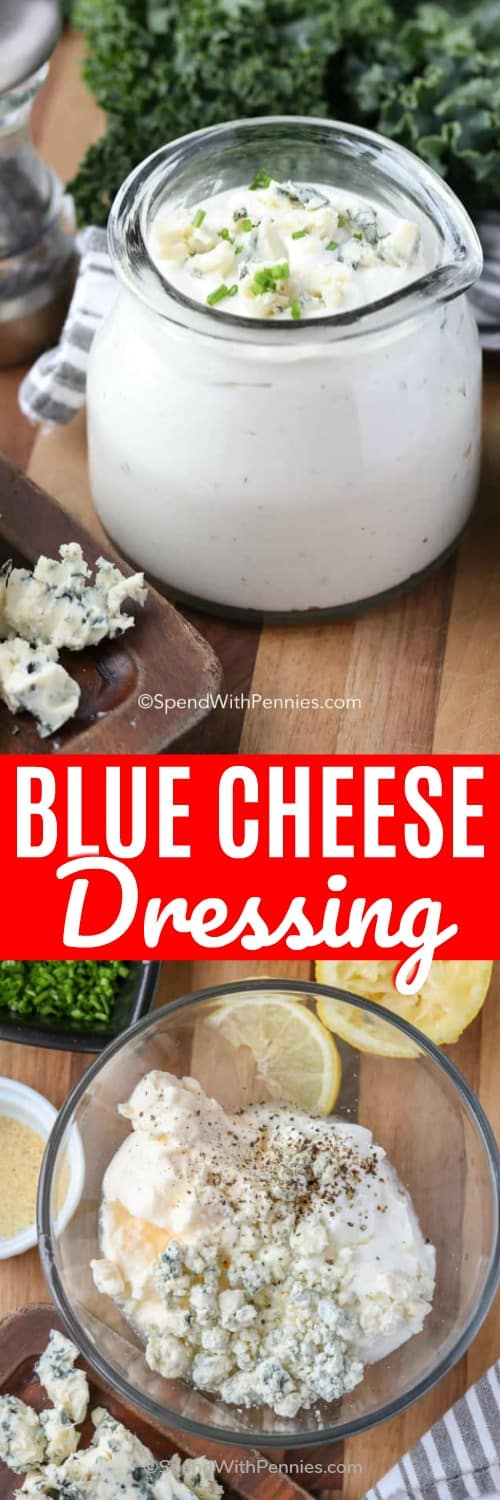 This homemade blue cheese dressing recipe is one of my favorite dips. It's easy, and the perfect dip for game day! #spendwithpennies #dressing #bluecheesedressing #homemadebluecheesedressing #bluecheese