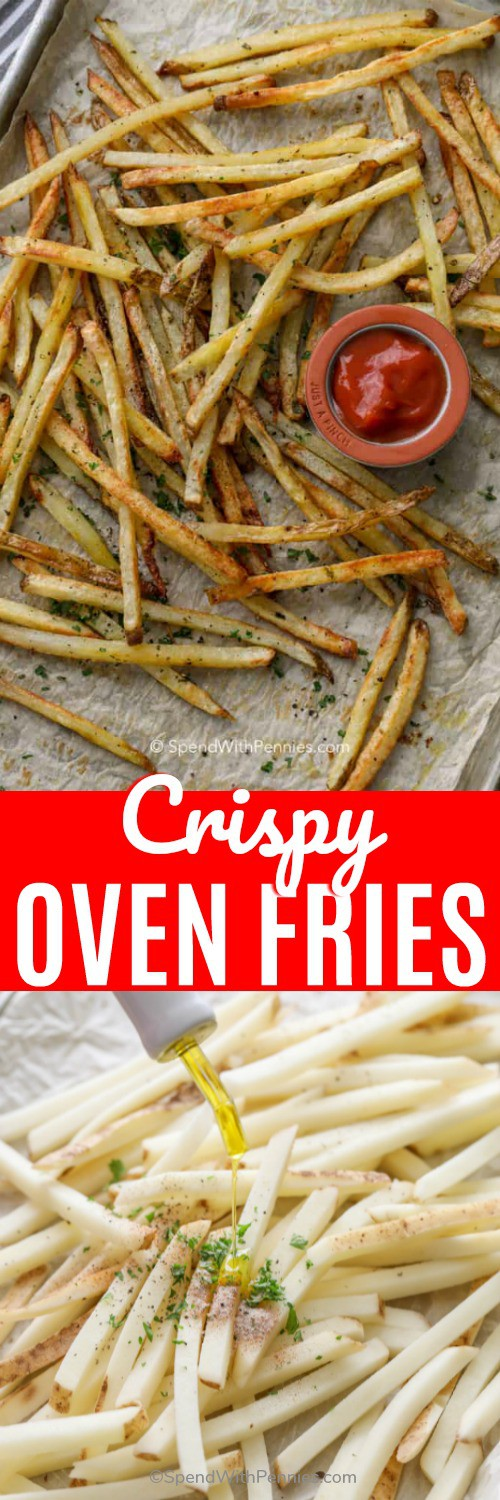 These oven baked french fries are my daughter's favortie. Homemade fries are an easy, healthier alternative! #spendwithpennies #fries #frenchfries #bakedfrenchfries #ovenbakedfrenchfries