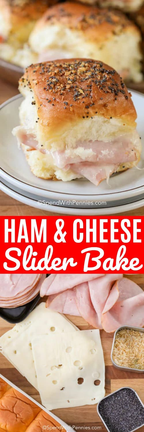 These ham and cheese sliders are the perfect game day meal. Serve them with all of your other favorite appetizers for the perfect meal! #spendwithpennies #hamandcheese #hamandcheesesliders #sliders #ham #hamandcheesesliderbake #hothamandcheesesliders