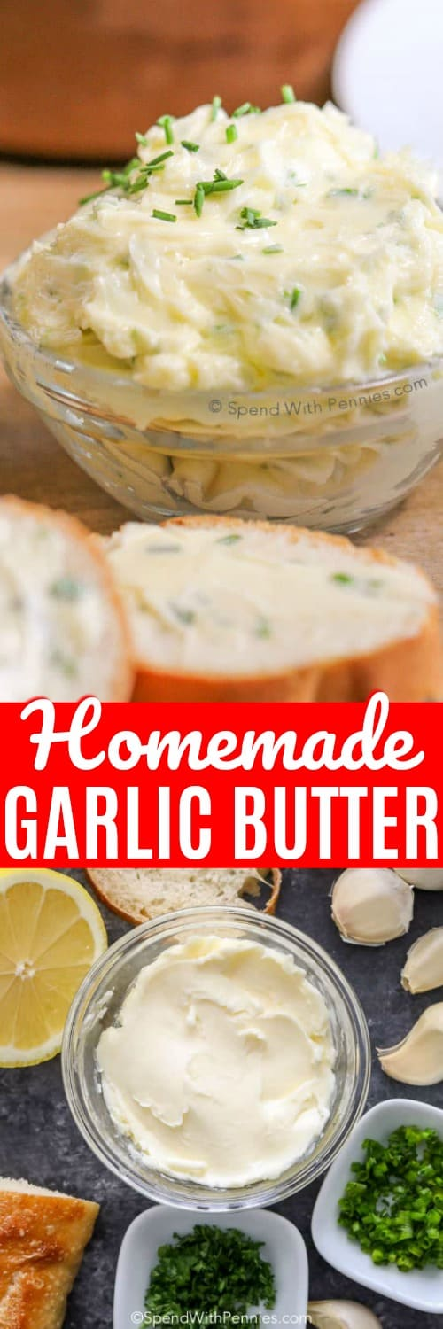 Homemade Garlic Butter with writing