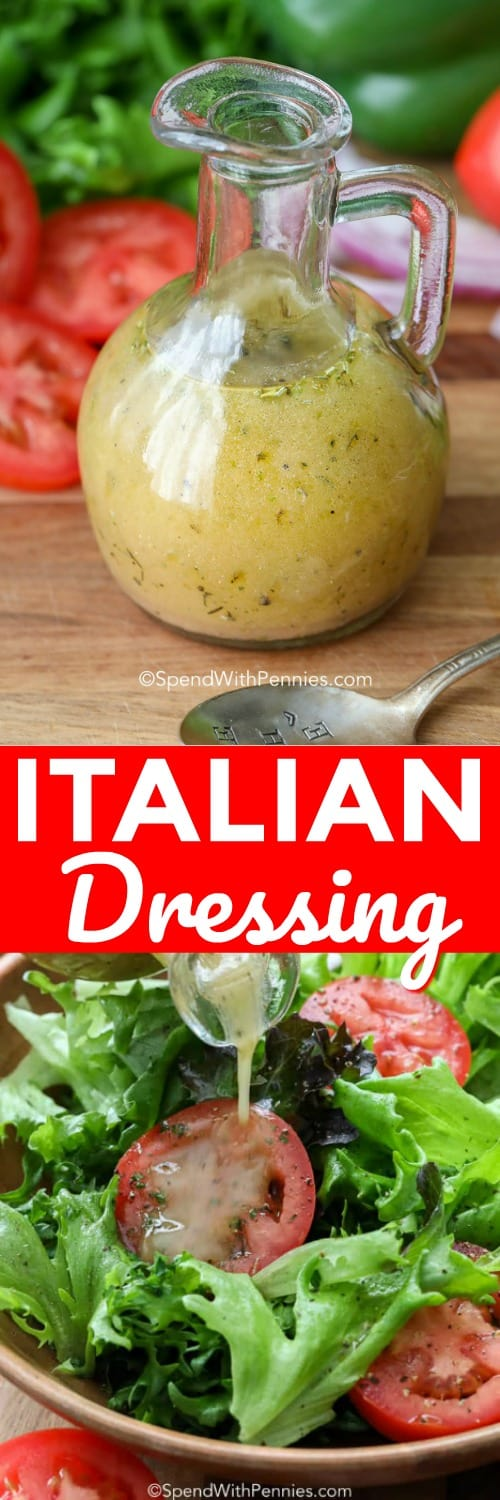 Once you make this homemade Italian dressing, you will never want to buy store bought dressing again. Olive oil, red wine vinegar and Italian seasonings make the perfect salad topper, marinade or pasta salad dressing! #spendwithpennies #Italian #Italiandressing #Italiansaladressing #Italiandressingrecipe #Italianmarinade #homemadeItaliandressing