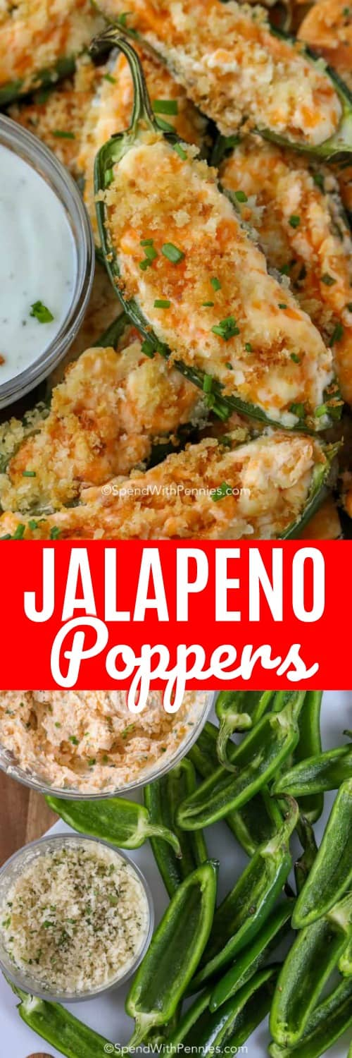 Jalapeno Poppers are my obsession! Fresh Jalapenos are sliced in half and filled with a rich creamy cheese filling and topped with a crisp Panko topping. These poppers are baked until golden and bubbly for the perfect game day snack! #spendwithpennies #jalapenorecipe #jalapenopoppers #bakedjalapenopoppers #appetizerrecipe
