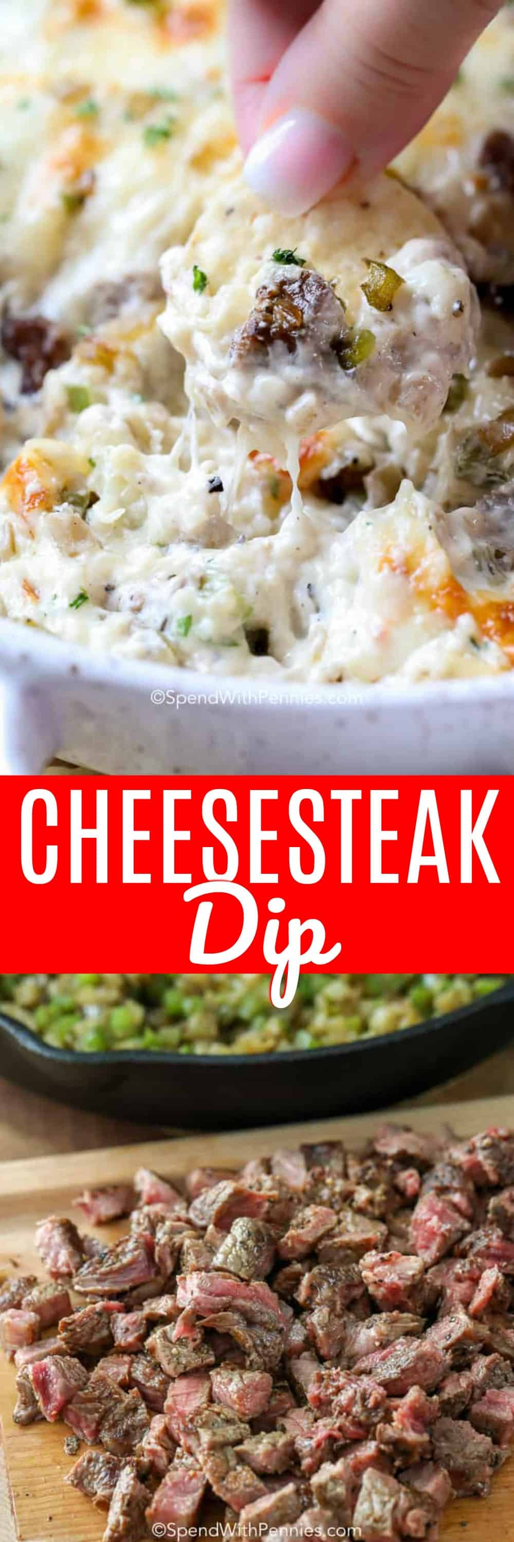 This Philly cheesesteak dip is perfect for game day. It's cheesy, and filled with beef and other delicious additions. We can't get enough of it! #spendwithpennies #cheeseteakdip #phillycheesesteakdip #dip #cheesedip #phillydip